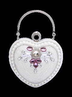 Sac En Soie En Forme De Coeur En Perles - Blanc