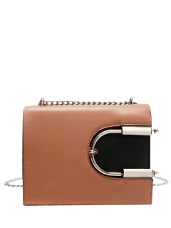 Chain Color Blocking Crossbody Bag - Brown