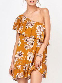 Mini Vestido Floral Con Un Hombro Solo - Floral S