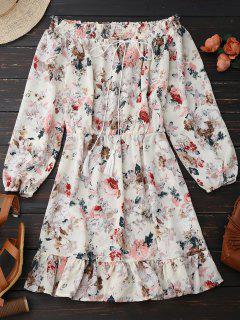 Floral Off Shoulder Tie Front Robe De Vacances - Floral S