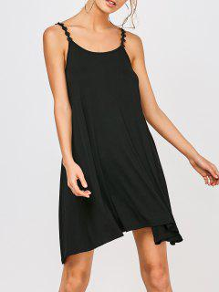 Asymmetrical Lace Trim Casual Dress - Black S