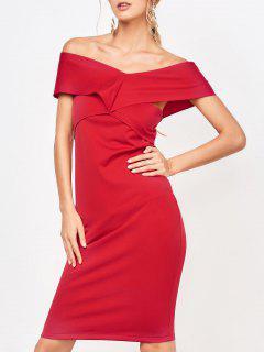 Vestido Formal De La Vaina Del Hombro - Rojo M
