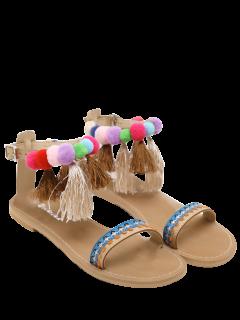Ankle Strap Pompon Tassels Sandalias - Albaricoque 40