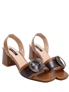 Block Heel Slingback Buckle Strap Sandals - Brown 39