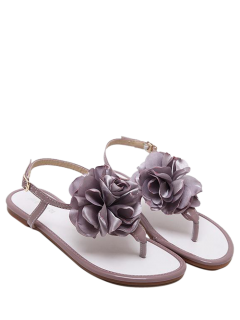 Patent Leather Flower Flat Heel Sandals - Smashing 38