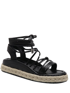 Tie Up Espadrilles Faux Leather Sandals - Black 40