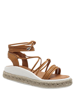 Tie Up Espadrilles Faux Leather Sandals - Light Brown 38