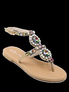 PU Leather Rhinestones Flat Heel Sandals - Golden 39