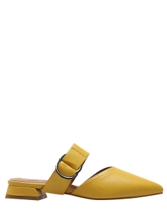 Pointed Toe Metal Rings Faux Leather Slippers - Yellow 38