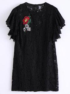 Vestido De Encaje Bordado Con Volantes - Negro S