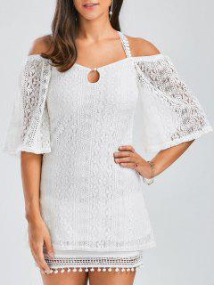 Backless Criss Cross Lace Tunic Top - White L