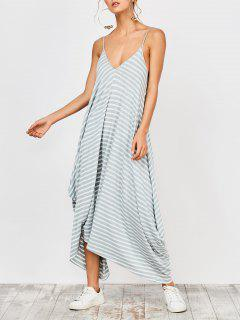 Asymmetrical Striped Casual Dress - Stripe S