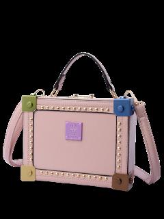 Rivet Top Handle Box Shaped Handbag - Pink