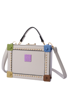 Rivet Top Handle Box Shaped Handbag - Off-white