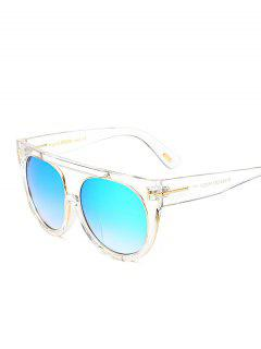 Transparent Frame Crossbar Flat Top Reflective Sunglasses - Ice Blue