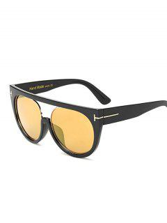 Hollow Cut Flat Top Outdoor Reflective Sunglasses - Black+gold