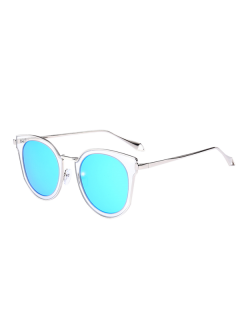 Mirrored Lens Panel Cat Eye Sunglasses - Transparent+blue