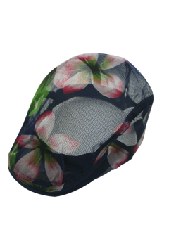 Flower Petal Pattern Mesh Yarn Breathable Beret - Cerulean