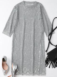 High Slit Lace Shift Dress - Gray