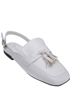 Square Toe Slingback Tassels Flat Shoes - White 39