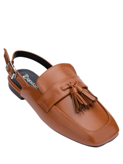 Chaussures Plates à Talons Carrés - Brun 38
