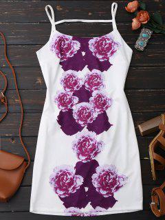 Flower Print Spaghetti Straps Backless Dress - White Xl