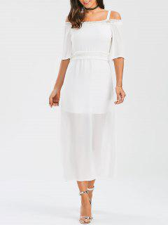 Spaghetti Straps Cold Shoulder Chiffon Dress - White L
