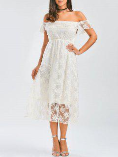Off Shoulder Ruffle Lace Wedding Dress - White L