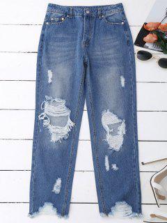 Distressed Raw Hem Jeans - Denim Blue M