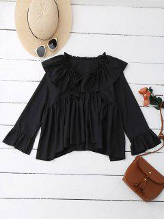Ruffle Tie Neck Flare Sleeve Oversized Blouse - Black L