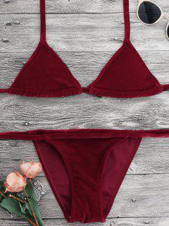 Halter Velvet Thong Bikini Set - Red M