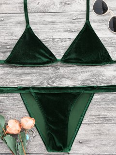 Halter Velvet Thong Bikini Set - Green M