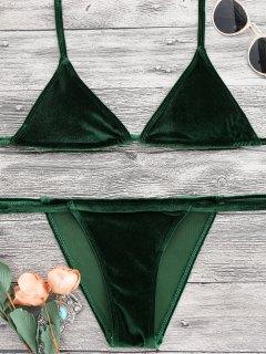 Halter Velvet Thong Bikini Set - Green S