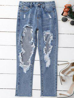 Distressed Frayed Jeans - Denim Blue L