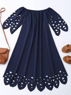 Vestido De Encaje Con Vuelo Con Hombros Al Aire - Azul Purpúreo Xl