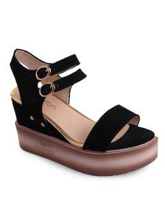 Double Buckle Strap Suede Sandals - Black 38
