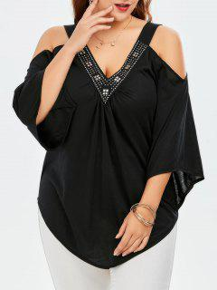 Studded Plus Size Cold Shoulder Top - Black 2xl