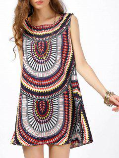 Sleeveless Shift Dress With Tribal Print - Xl