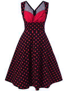 Sweetheart Neck Polka Dot Party Dress - Red With Black L