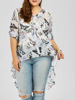 Butterfly Print Plus Size High Low Top - White 4xl