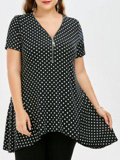 Plus Size Zipper Neck Polka Dot Top - White And Black 4xl