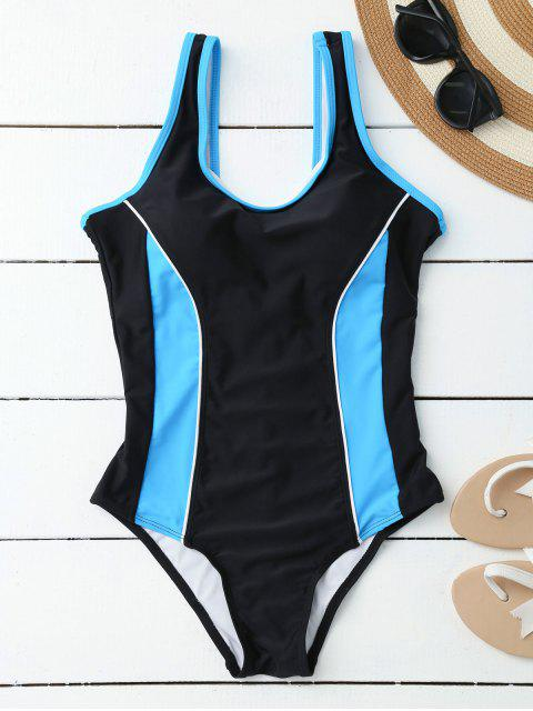 shops Sporty Slimming Padded One Piece Swimsuit - BLACK S Mobile