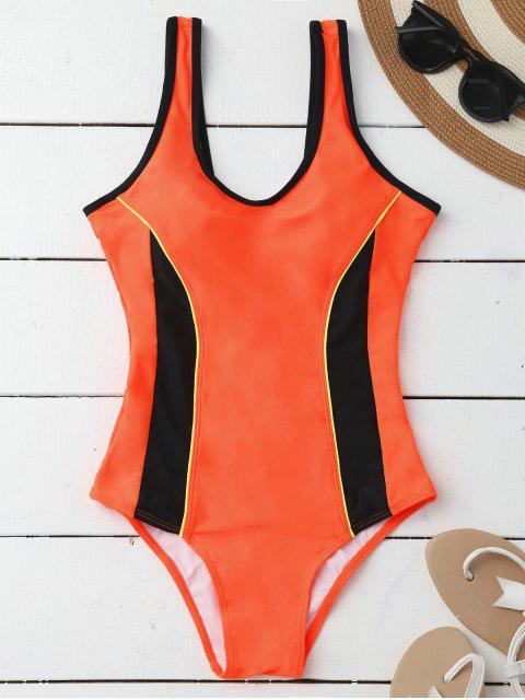 Maillot de bain rembourré amincissant sportif en une pièce - Orange L Mobile