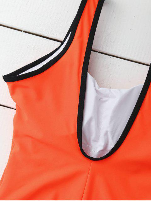 trendy Sporty Slimming Padded One Piece Swimsuit - ORANGE L Mobile