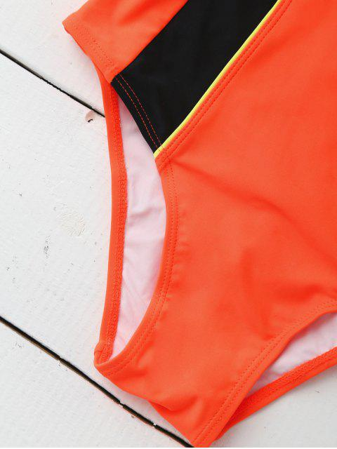 chic Sporty Slimming Padded One Piece Swimsuit - ORANGE S Mobile