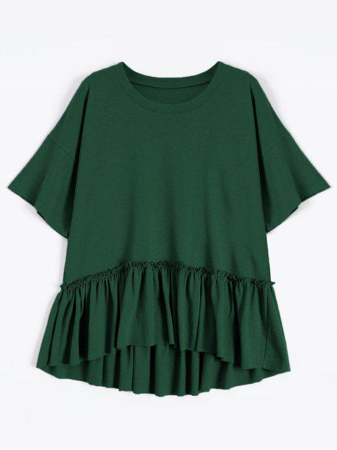 unique Short Sleeve Ruffle Hem T-Shirt - BLACKISH GREEN ONE SIZE Mobile