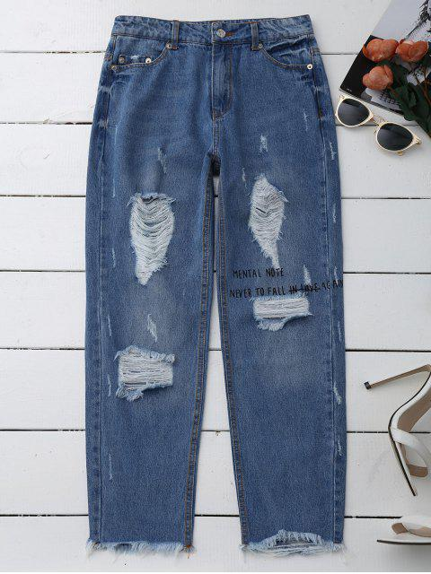 trendy Distressed Graphic Boyfriend Jeans - DENIM BLUE L Mobile