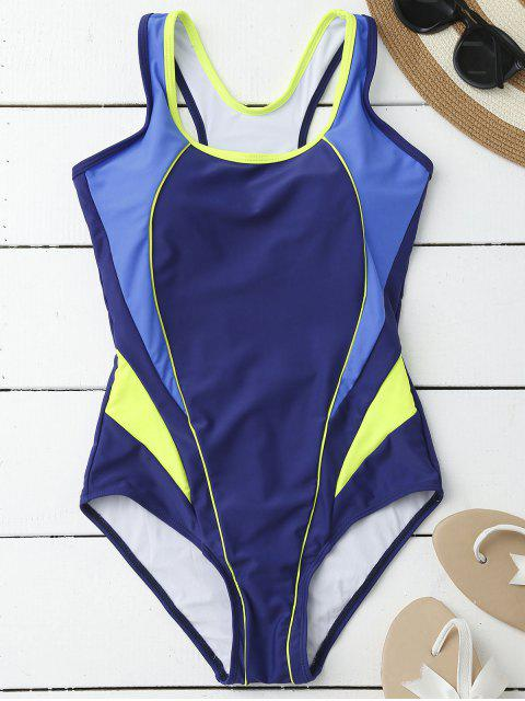 chic Tricolor Sporty One Piece Swimsuit - BLUE M Mobile