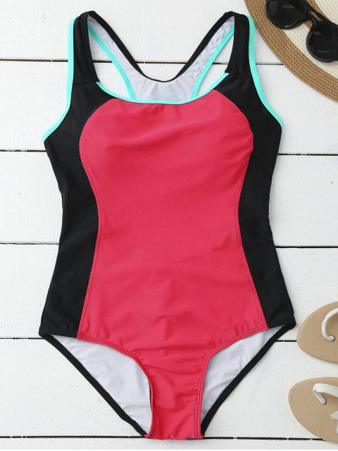 best Racerback Sporty Slimming One Piece Swimsuit - ROSE RED L Mobile