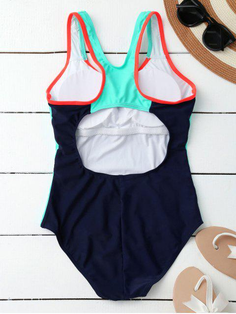 shop Racerback Sporty Slimming One Piece Swimsuit - PURPLISH BLUE S Mobile